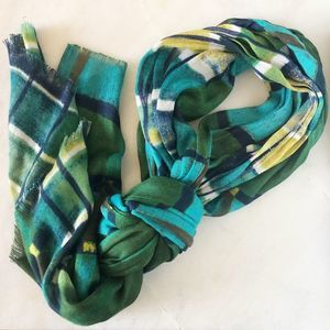 Square Panel Blue Green Yellow Lightweight Scarf